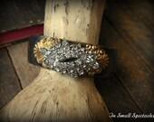 EXQUISITE Vintage Rhinestone Brass Cuff