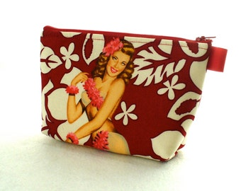 Aloha Girls Tropical Hawaiian Pin-Up Girl Fabric Large Pouch Cosmetic Bag Zipper Pouch Makeup Bag Alexander Henry White Red
