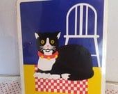 Vintage Cat Tin ~ Made in England ~ Black White Cat Container ~ Swedish colors ~ Yellow Blue