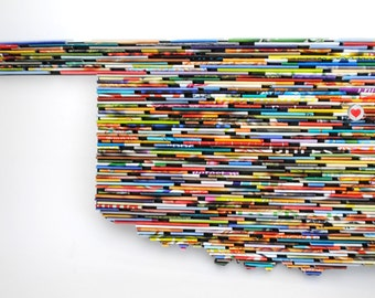 LARGE Recycled Magazine State or Country wall art- you choose your own state, colorful, blue, green, red, purple, pink, yellow, orange