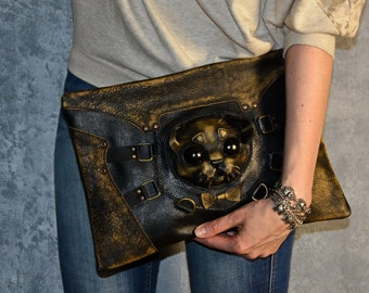 Leather clutch - Steampunk bag - Women leather bag - Gift for women - Vintage leather bags - Cat bag - Steampunk accessories - Steampunk cat