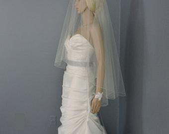 Wedding Veil Drop Veil Double Tier Pencil Edge, Bridal Veil