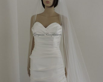 Wedding Veil Cathedral Single Tier with Soft Satin Rattail Edge Extra Fullness, Bridal Veil 120X108RE