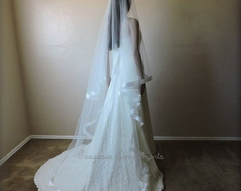 Satin Ribbon Edge Wedding Veil, Drop Veil, Ribbon Bridal Veil