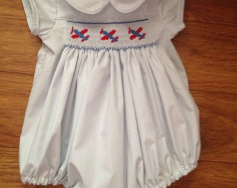 Toddler, Baby, little boy's hand smocked airplane bubble suit - Sz 3m