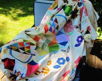 Large quilt top, sampler quilt topper, vintage patchwork, King size quilt top, unfinished patchwork, unfinished quilt, cotton sampler