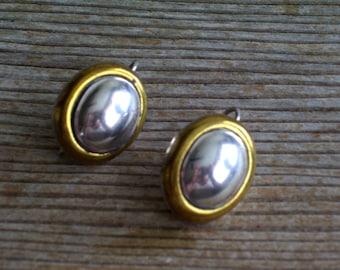 Vintage Sterling Earrings, Laton Earrings, Vintage Taxco Mexican LATON Sterling Silver Brass Modernist Pierced Earrings, Mixed Metals