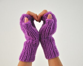 Purple Gloves Knit Fingerless Gloves Wrist Warmers Winter Accessories Winter Fashion