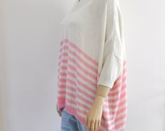 Boho Sweater/ Bulky, Slouchy, Oversized Sweater/ Loose Fit Sweater/ Pink Rose Quartz / Spring Summer Fashion / Plus Size Women's Clothing