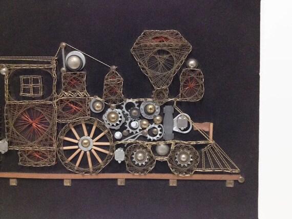 Vintage Steampunk Train Sculpture String Art Wall Decor