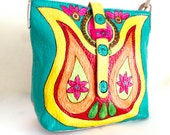 Faux leather hand painted crossbody bag, Mandala bag, messenger bag with colorful bright colors