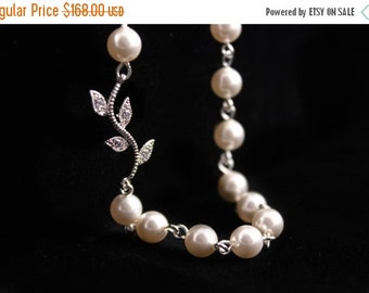 Bridesmaid Jewelry Set of 7 Rhinestone Vine and Pearl Bridal Necklace Alexis