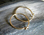 Hammered flat 14k yellow gold filled small hoop earrings - handmade jewelry