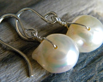 Baroque large white cultured pearl earrings - June birthstone - bright sterling silver - handmade gemstone wire wrapped jewelry