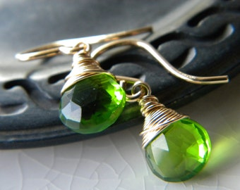 Emerald green quartz wire wrapped briolette drop earrings - 14k gold filled handmade gemstone jewelry