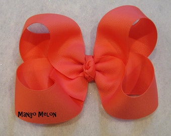 Mango Melon Hair Bow, Girls Hairbows, Big Bows, Large Hair Bow, Classic Hairbow, Tropical Bow, Toddler Bow, 4 5 inch Bows, Boutique Bow, 45G