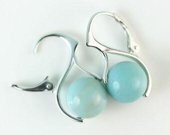 Amazonite Blue Sterling Silver European style Lever Back earrings, blue stone earrings, free shipping within Canada, fine jewelry by art4ear