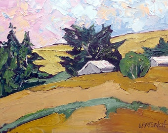 Impressionist California Coastal Farm Barns Plein Air Landscape Oil Painting Original Art Lynne French 11x14