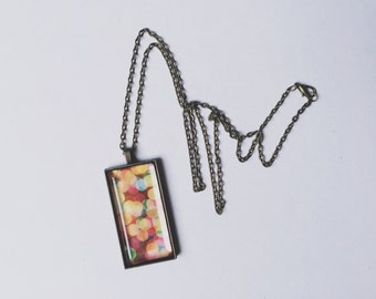 Bokehful Necklace, Photo Pendant, Bokeh Photography, Colorful Necklace, Abstract, Rainbow, Colorful Jewelry, Gift for her, Stocking Stuffer