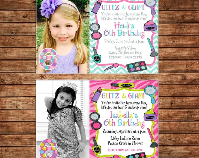 Girl Photo Picture Makeup Make Up Salon Spa Fashion Show Makeover Hair Party Birthday Invitation - DIGITAL FILE