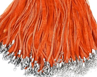 Orange Organza Ribbon Cords For Necklace, Organza Necklace Cords, Gauze Voile String Necklace Cords