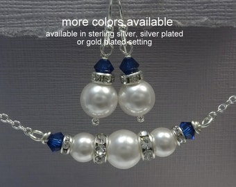 Navy Bridesmaid Gift, Swarovski White Pearl and Navy Jewelry Set, Bridesmaid Jewelry,  Navy Wedding Jewelry, Set Royal Blue Jewelry Set