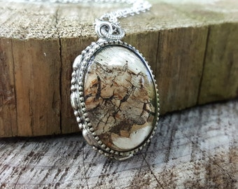 Birch Bark Necklace - Nature Jewelry - Rustic Woodland Necklace - Real Birch Necklace