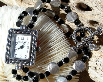 ON SALE 50% OFF Silver Watch Black Bead Jewelry      Sold as is 6.5 inches.