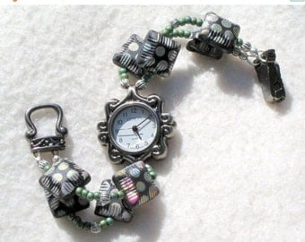 ON SALE 50% OFF Pewter Watch, Polka Dotted Beads Jewelry      Sold as is 7 inches
