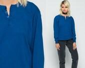 Long Sleeve Shirt POLO Shirt Royal Blue Shirt Plain T Shirt 90s Grunge Tshirt Hipster 80s Retro Tee Vintage Normcore Medium