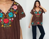 Mexican Blouse Embroidered Top Hippie Boho Cotton Tunic Bohemian Floral Vintage V Neck Ethnic Smock Tent Shirt Brown Small Medium Large