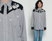 Western Shirt EMBROIDERED 70s Pearl Snap Floral Cowboy Button Up Top 1970s Vintage Hipster Long Sleeve Blouse Rockabilly Grey Extra Large