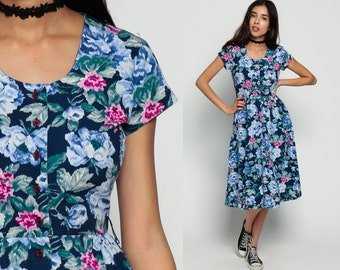 Floral Dress 80s Fit and Flare Garden Party Romantic Boho Midi High Waist 1980s Cap Sleeve Vintage Bohemian Grunge Navy Blue Small