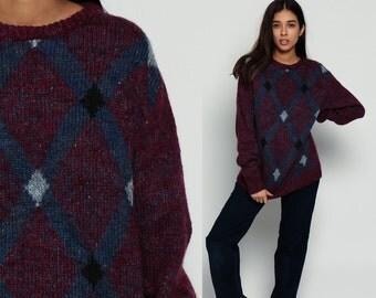 80s Sweater Geometric Grunge DIAMOND Slouchy Space Dye Purple Oversized 1980s Boho Vintage Bohemian Checkered Flecked Large
