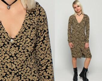 Bohemian Dress 90s Floral Dress Grunge Button Up Boho Midi Deep V Neck 1990s Vintage Fitted Sheath Long Sleeve Black Tan Extra Small xs