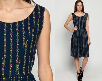 60s Floral Dress Day Mod Tea Length Midi Blue Cotton Calico Print 1960s Pin Up Vintage Full Skirt Flare Folk High Waist Sleeveless Medium