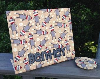 Sock Monkey Nursery, Fabric Magnet Board, Personalized Magnetic Board, Baby Nursery, Sock Monkey Baby Shower, Memory Board, Picture Frame