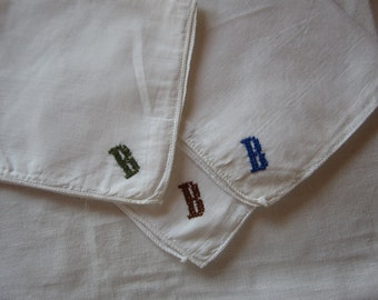 "Three White Men's Handkervchiefs Hand Monogrammed ""B"" in Navy, Brown and Dark Green"