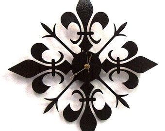 Fleur de lis metal art clock - FREE USA Shipping