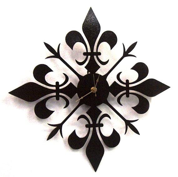 Fleur de lis metal art clock - FREE USA Shipping