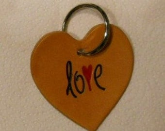 Heart and Love Leather Keychain
