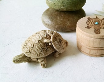 Vintage Turtle Figurine Mama and Baby Ancient Wisdom Animal Totem