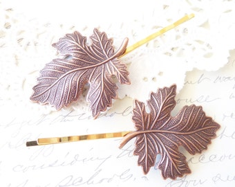 Golden Copper Maple Leaf Hair Pins - Maple Leaf Bobby Pin Set - Maple Leaf Hair Accessories - Wedding Bridal Hair - Woodland Hair Pins