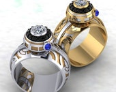 The Ultimate BB8 Ladies Spinner ring Starwars Inspired Fully Kinetic, Engineered Jewelry