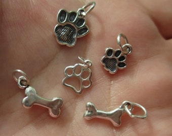 Sterling Silver Paw Print Charm solid or open work, or dog bone - you choose which one