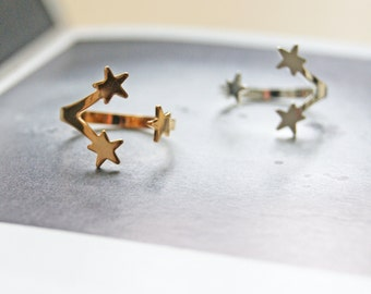 STAR CLUSTER Gold or Silver Plated Ring