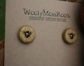4 Honeybee Buttons- Oregon Osage Orange Wood- Handmade Wooden Buttons- Knitting, Sewing, Craft Buttons