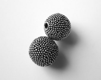 Bali Sterling Silver Beads - 2 Granulated Round 10mm Beads