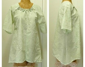 Green Embroidered Tunic Top Medium or Large Greenery Blouse Paisley Metallic Gypsy Boho Hippie Sequins Womens