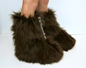 """Reserved for Qususu Custom 18"""" Adult Wookie Inspired Furry Fluffy Fuzzball Brown Faux Fur Slippers"""